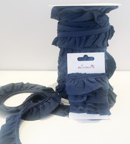 Jersey Rüschenband dunkelblau elastisch