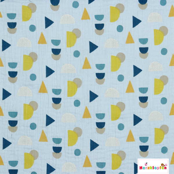 Baumwoll Musselin - hellblau mit Muster