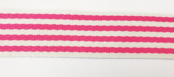 1 m Gurtband pink-weiss 4 cm - Baumwolle