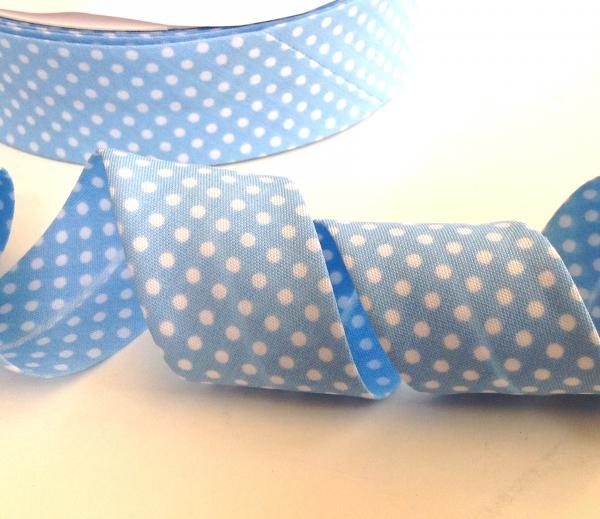 3 m Schrägband hellblau mit weissen Punkten 30 mm