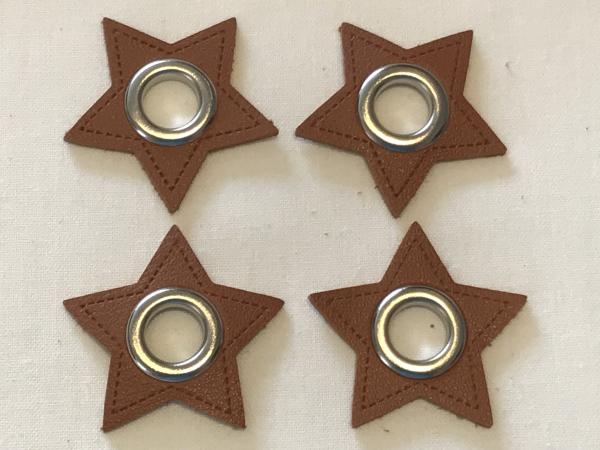 2 Stck. Ösen Patches - Sterne braun - 11 mm - Kunstleder-