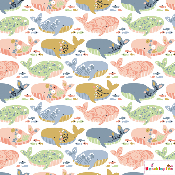 Baumwollstoff - bunte Wale