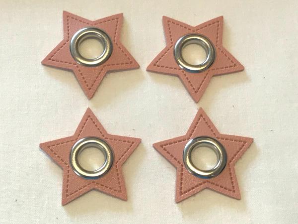 2 Stck. Ösen Patches - Sterne rosa - 11 mm - Kunstleder