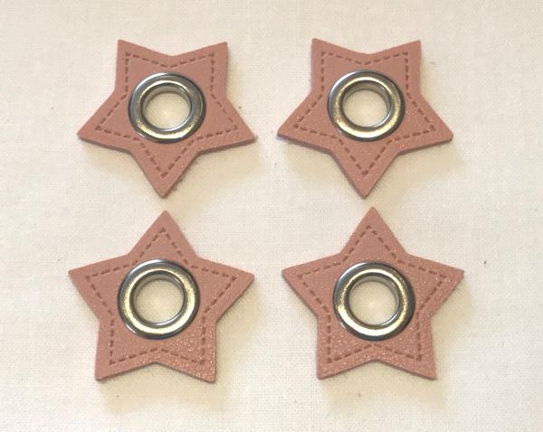 2 Stck. Ösen Patches - Sterne rosa - 8 mm - Kunstleder