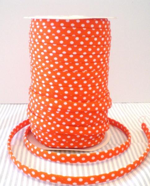 3 m Spagheti Band orange mit weissen Punkten