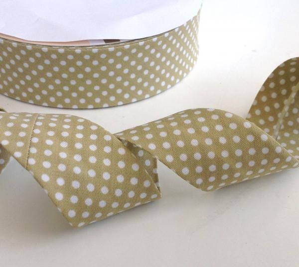 3 m Schrägband beige mit weissen Punkten 30 mm