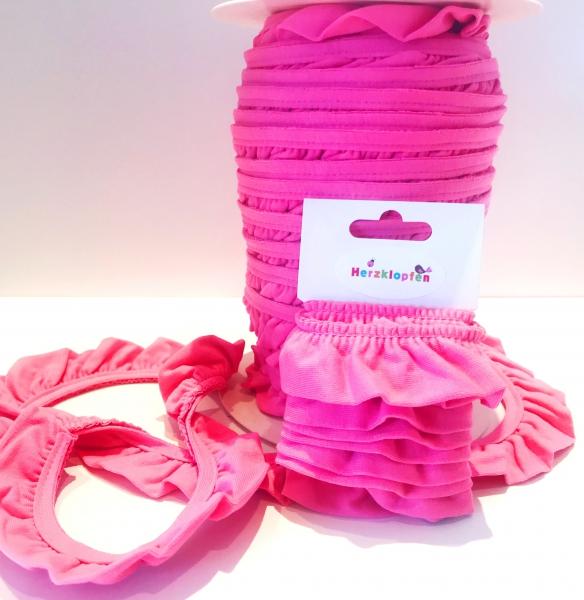 Jersey Rüschenband pink elastisch