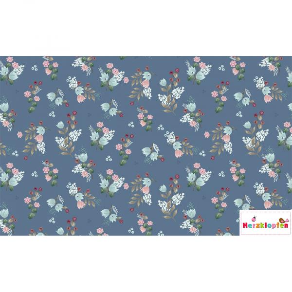 Jersey digital - Little flowers auf blau